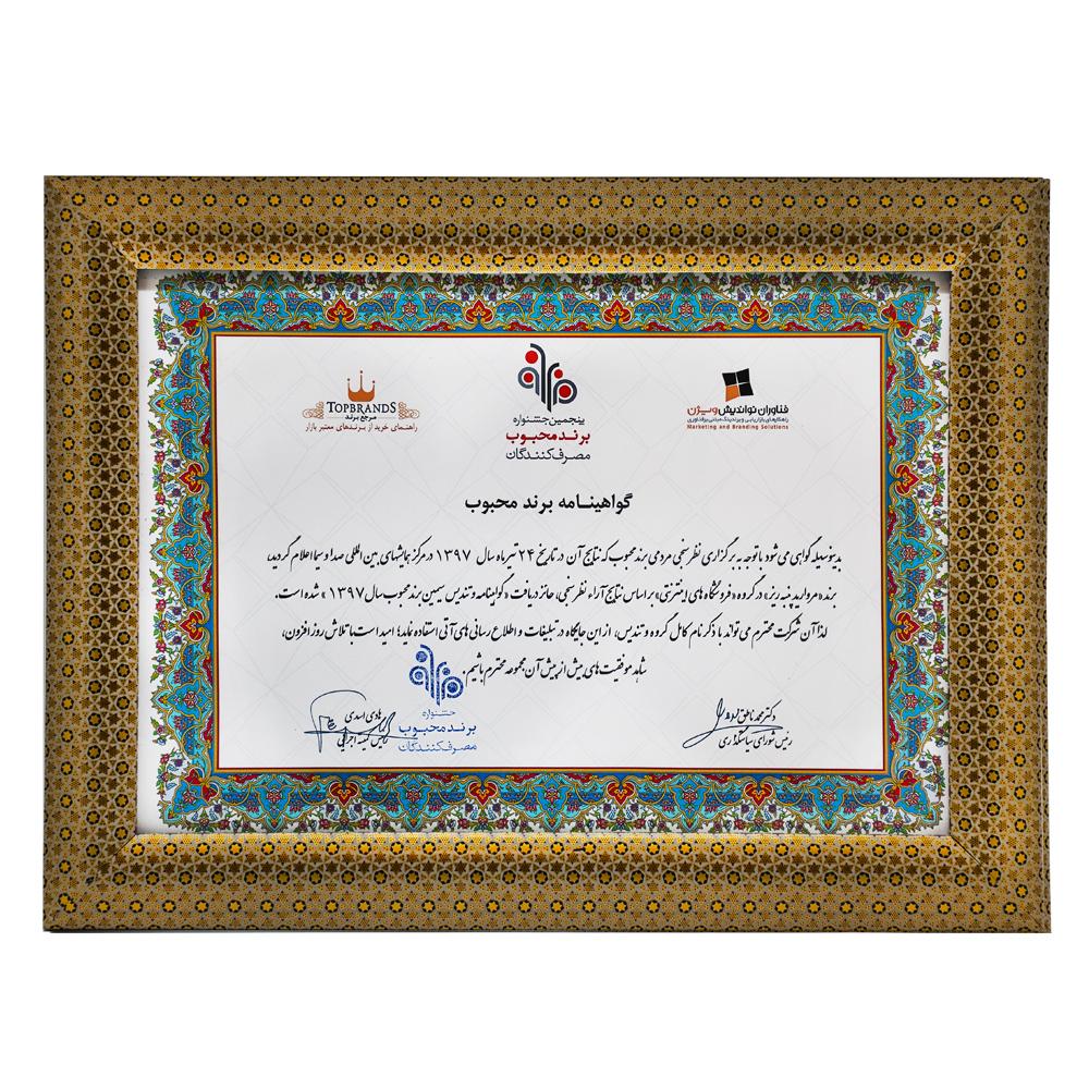 لوح سپاس برند محبوب در شاخه فروشگاه های اینترنتی از جشنواره ملی برند محبوب با آرای مردمی